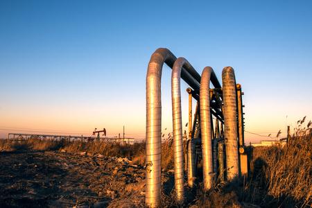 Oil pipelines, bridges and valves 스톡 콘텐츠