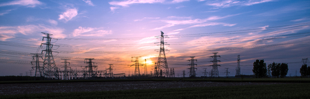 Silhouette of Power Supply Facilities at Sunset