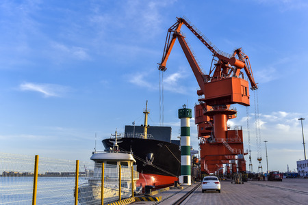 Heavy Loader Working in a Harbour  Stok Fotoğraf