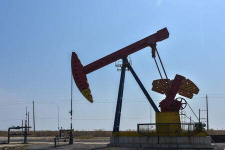 Oil pumps in oil fields are producing crude oil