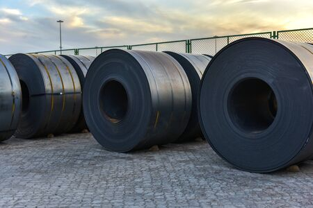 Large quantities of steel sheets to be transported at the dock yard