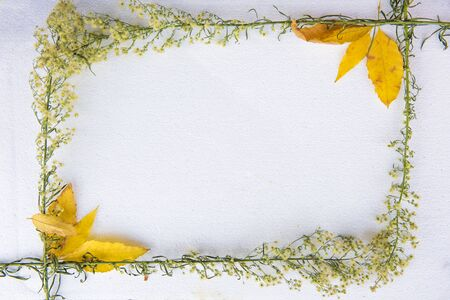 The composition of autumn. The frame is made up of hay, dried leaves on a soft grey-white background. Autumn, the concept of autumn. Lie flat, top view. Stock fotó