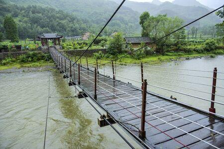 suspension bridge of ancient tea horse road in China