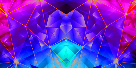 crystal background: Blue-purple solid Crystal geometric pattern background Stock Photo