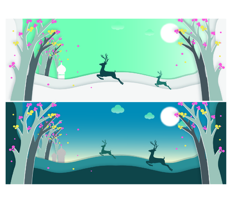 running elk, fresh illustration background Illustration