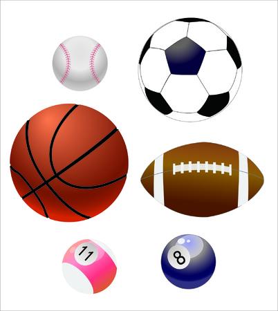 Sports equipment in white background Illustration