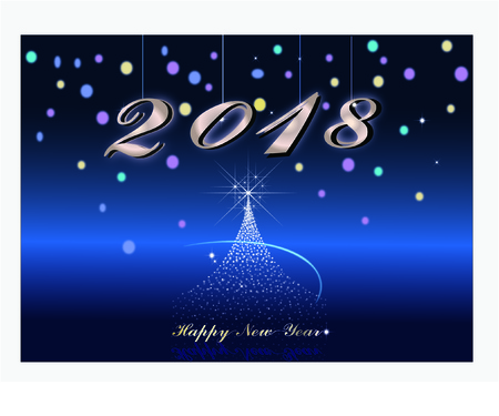 Happy new year in blue background