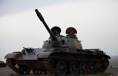 anti fascist: tank at Hailar anti fascist Memorial Park Editorial