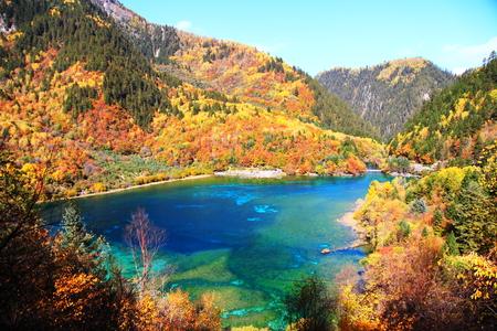 Five Flower Lake scenery landscape view Stock Photo