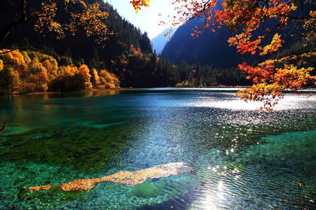 sichuan: Five Flower Lake scenery landscape view Stock Photo