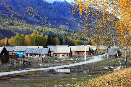 Hemu 村の自然景観の風景図 写真素材