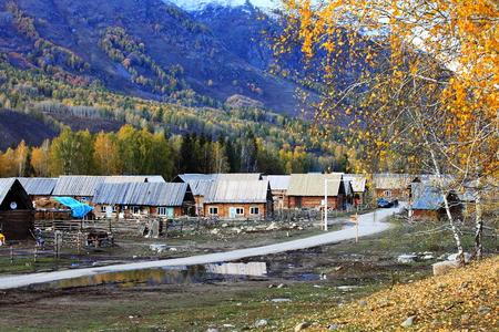 Hemu 마을의 자연 경관의 풍경보기 스톡 콘텐츠