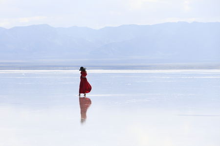 a woman on salt lake