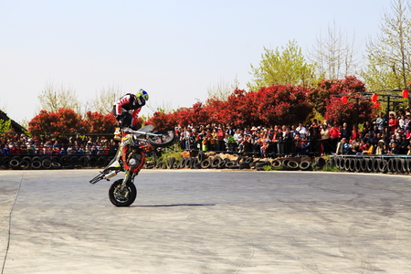 Motorcycle stunt thrilling show