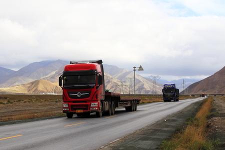 Qinghai-Tibet Highway with heavy truck