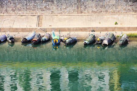 Fishing boat at river 스톡 콘텐츠