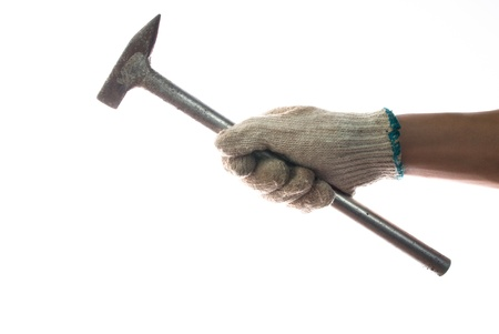 hand holding an old hammer Stock Photo