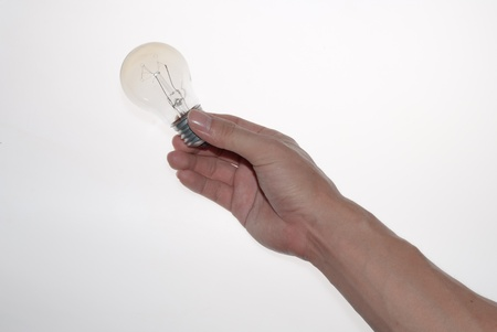 edison: a lamp bulb in hand