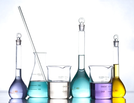 science lab: glass laboratory apparatus with color water Stock Photo