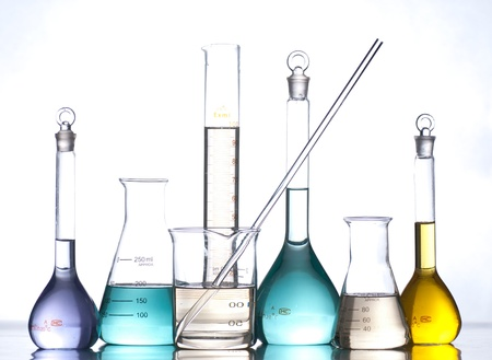 science experiment: glass laboratory apparatus with color water Stock Photo