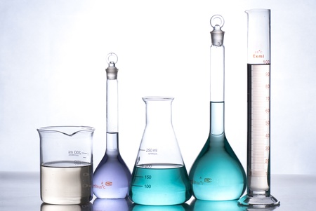 glass laboratory apparatus with color water Stock Photo