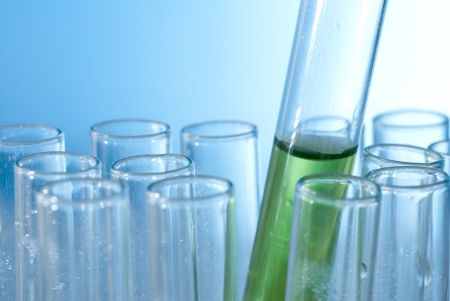 burette: A test tube with color water Stock Photo
