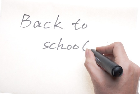 the words 'Back to School' written on white background Stock Photo - 19290496