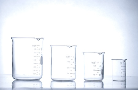 chemical reactions: glass laboratory apparatus Stock Photo