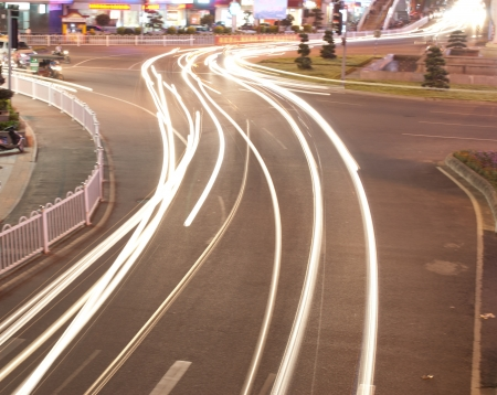 the light trails on the road photo