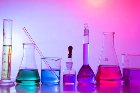 glass laboratory apparatus with color water Stock Photo - 25973667