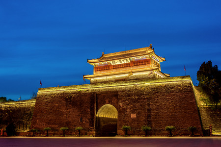 Night view of East Building, Dongmen Town, Shanhaiguan, Qinhuangdao, Hebei Editorial