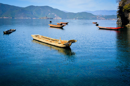 wooden  boats on the lake Stock Photo