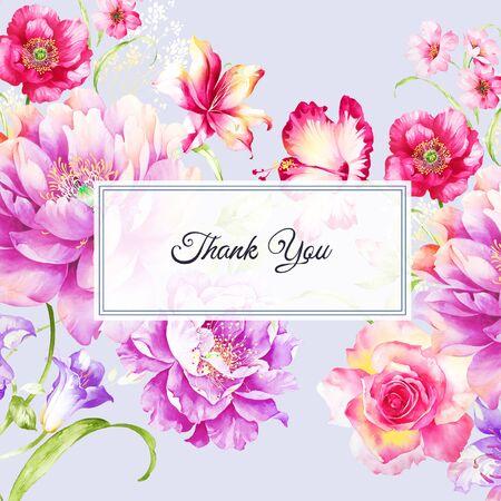 Conjunto de tarjeta con flor rosa, hojas. Tarjeta de felicitación decorativa o fondo de diseño de invitación.