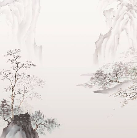 Traditional oriental ink painting. Traditional Chinese painting of high mountain landscape. Stockfoto