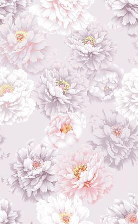 Seamless pattern with image of a Pastel Splendor Peony flowers on a light gray background.