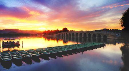 sunset of the summer palace in beijing photo