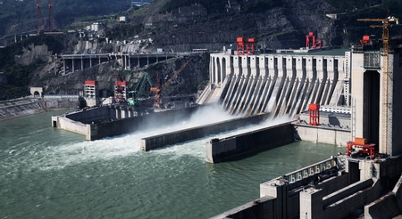 hydropower: Hydropower station and dam in Yibin, Sichuan, China.