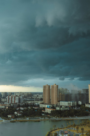 city with Dark clouds scenery