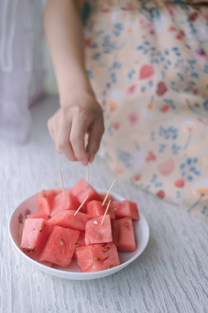 a plate of watermelon
