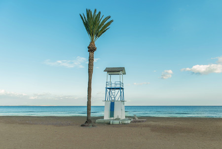 Lifeguard Tower and Palm Tree on Beach Stock Photo