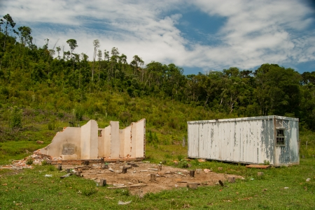 Abandoned logging area after the end of natural resources, southern Brazil  photo