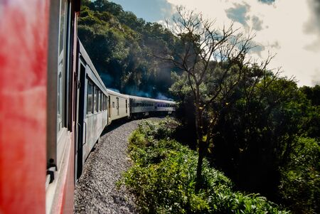 Train trip through the sea mountain range and Atlantic forest, Paraná State, southern Brazil.