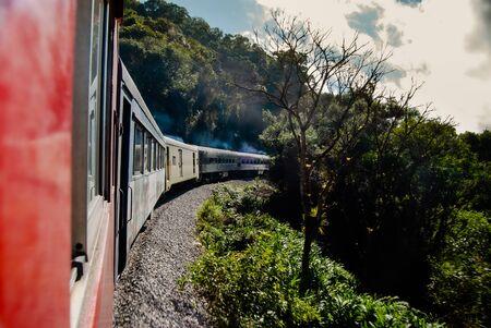 Train trip through the sea mountain range and Atlantic forest, Paraná State, southern Brazil. Stok Fotoğraf