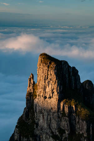Stone tower in the landscape of the funnel canyon, in the Santa Catarina mountains, southern Brazil.