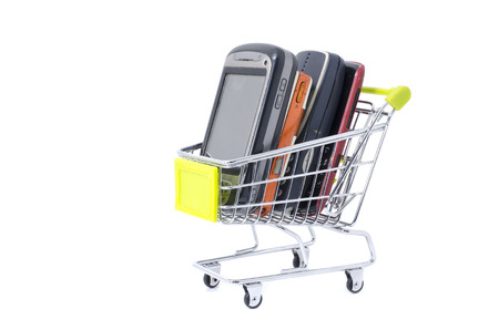 front view handphone with mini trolley isolated white background photo