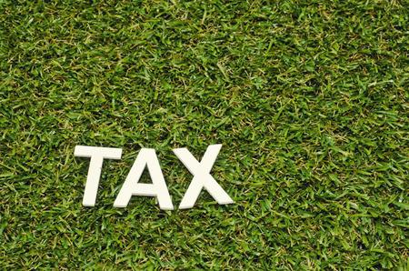 concept beeld word belasting gemaakt froom hout op kunstgras Stockfoto
