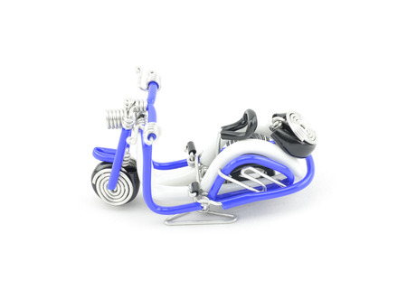 solid wire: retro look old scooter made from blue wire isolated white background