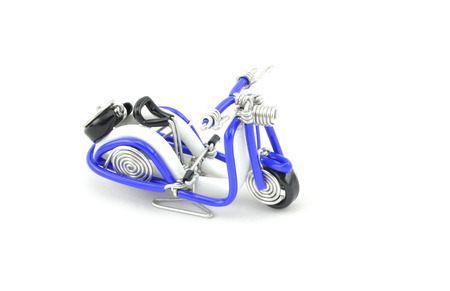 solid wire: beautiful scooter made from white and blue wire. isolated white background