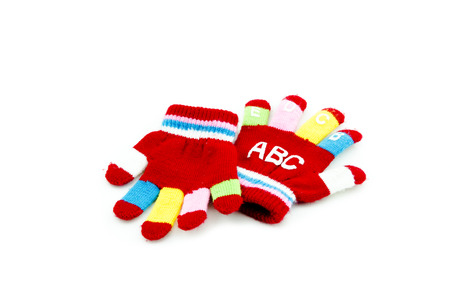 red hand: a pair red hand glove with alphabet  isolated white background
