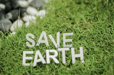 wastebasket: capital alphabet and form word SAVE EARTH laying on green grass. blurred and bokeh background Stock Photo